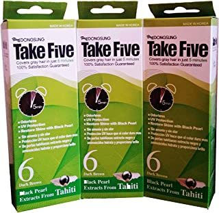 Dongsung Take 5 Hair Dye Gray Hair Coveage No. 6 Dark Brown Pack of 3