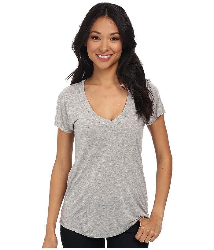 LAmade Short-Sleeve Low V-Neck Boyfriend Tee (Heather Grey) Women's Short Sleeve Pullover