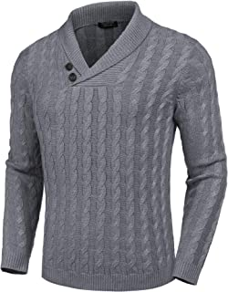 Men's Shawl Collar Pullover Sweater Slim Fit Casual Button Cable Knit Sweaters