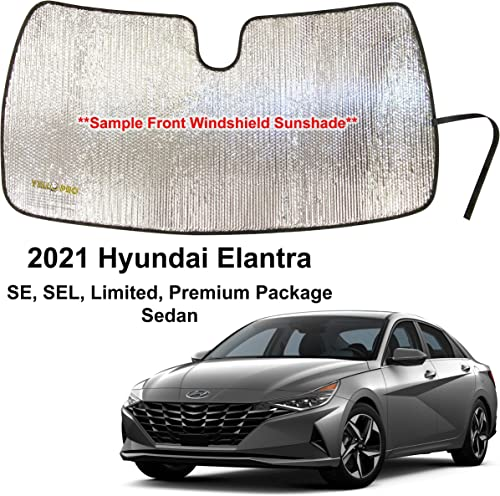 discount YelloPro Custom Fit Front Windshield Reflective Sunshade for 2021 Hyundai popular Elantra, SE, SEL, Limited, Premium high quality Package, Sedan, Sun Shade Protector Accessories [Made in USA] outlet sale