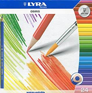 LYRA Osiris Water-Soluble Colored Pencils, 3 Millimeter Cores, Set of 24 Pencils, Assorted Colors (2531240)