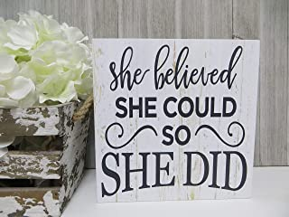 DKISEE She Believed She Could So She Did Wooden Sign Inspirational Wood Sign Nursery Decor Wood Kid's Sign 6
