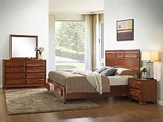 Roundhill Furniture Oakland 139 Antique Oak Finish Wood Bed Room Set, Queen Storage Bed, Dresser, Mirror, Night Stand