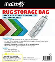 Rug Storage Bag and Zip Tie - No Vent Holes - Large Size Fits Rugs up to 6' x 9' - Protects Rolled Rugs for Moving or Storage