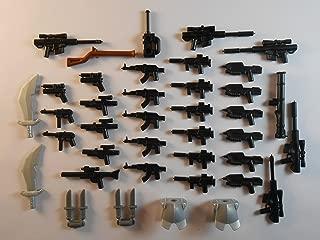 BuilderUp 39 Guns for Lego Mini Figures. New. Knifes Trooper Halo Star Wars City Guns
