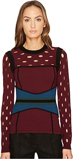 YIGAL AZROUËL Color Block Pointelle Stitch Bustier Top
