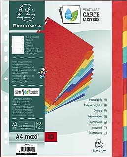 Exacompta - Réf. 2610E - Paquet de 10 Intercalaires à Onglets Plastifiés Couleurs - Format A4 Maxi - Carte Lustrée 400g/m²...