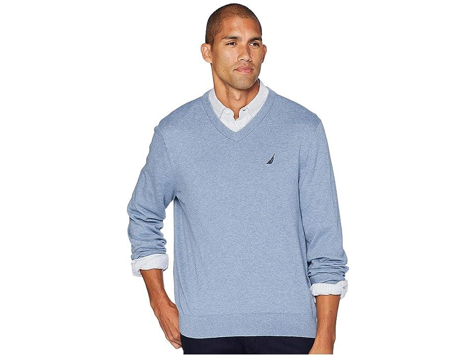 Nautica 12 Gauge Jersey V-Neck Sweater (Deep Anchor Heather) Men