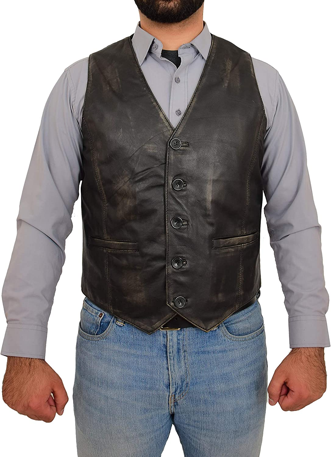 Mens Traditional Leather Waistcoat Button Fastening Vest Nick Black Rub Off