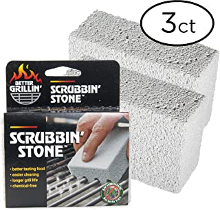 BETTER GRILLIN'' Scrubbin' Stone Grill Cleaner - Scouring Brick/Barbecue Grill Brush/Barbecue Cleaner - Advanced Green Technology Easily Removes Grime and Grease from BBQ, Grills, Griddles, Racks (3)