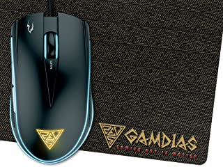 GAMDIAS Optical Gaming Mouse with 6 Smart Buttons, Double Level Multi-Color Lighting and Gaming Mouse Mat (ZEUS E1)