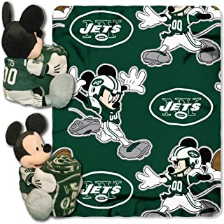 Officially Licensed NFL Co Mickey Mouse Hugger and Fleece Throw Blanket Set, Multi Color, 40