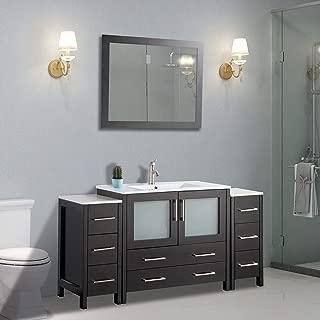 Vanity Art 60 inch Single Sink Modern Bathroom Vanity Compact Set 1 Shelf, 8 Drawers - Ceramic Top Bathroom Cabinet with Free Mirror(Espresso) - VA3036-60-E