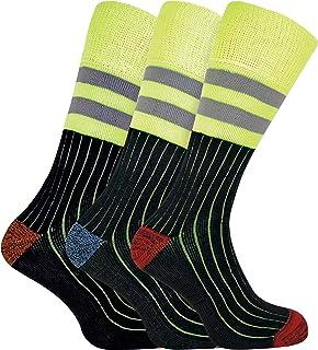 3 Pares Hombre Algodon Calcetines Hi Viz Reflectantes Trabajo Para Botas Zapatos de Seguridad