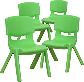 Flash Furniture 4 Pack Green Plastic Stackable School Chair with 10.5'' Seat Height