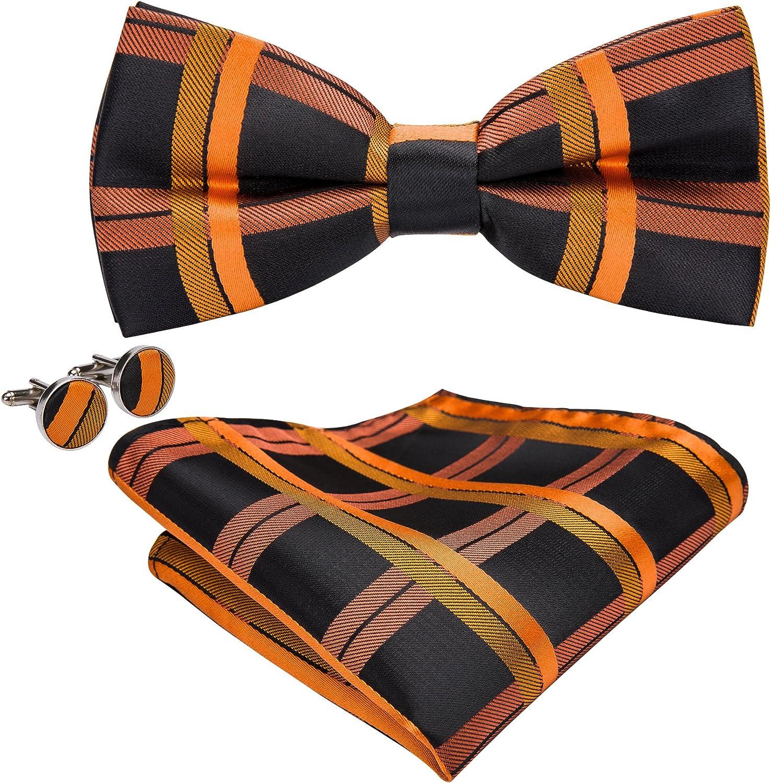 Barry.Wang Silk Bow Ties Stripe Plaid Necktie Set Pocket Square Cufflinks for Men