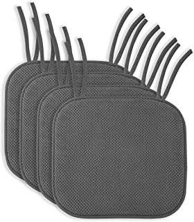 4 Pack: Ellington Home Non Slip Memory Foam Seat Cushion Chair Pads with Ties –..