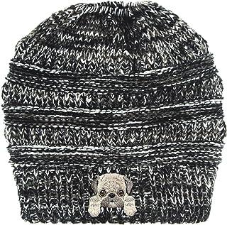Lhotse Pug/Embroidered Puppy Dog Series Beanie - Stretch Fleece Cable Knit High Bun Ponytail Skullies Hat Cap - Black White Mix