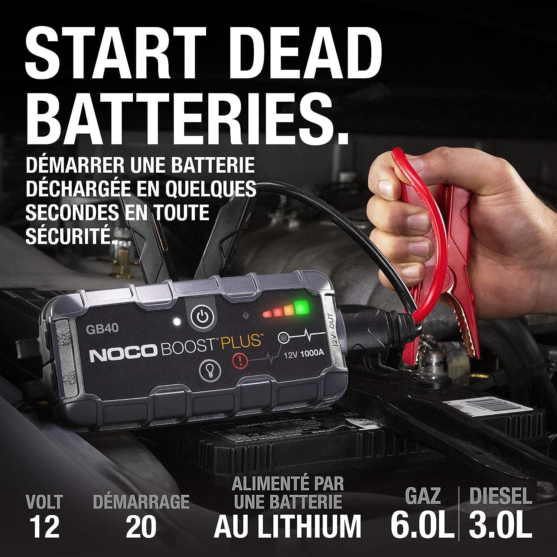 NOCO Boost Plus GB40, 12V 1000A UltraSafe Booster de Batterie au Lithium