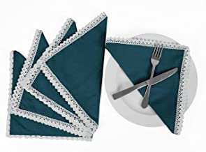 Vargottam Teal Blue Home Décor Washable Dining Table Lace Napkins Set-Pack of 6