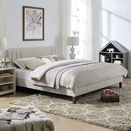 Classic Brands Chicago Modern Tufted Upholstered Platform Bed | Headboard and Wood Frame with Wood Slat Support, King, Peyton Shell