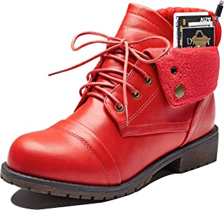 Women's Combat Style Up Sweater Top Ankle Bootie with Pocket for Credit Card Knife Money Wallet Pocket Boots