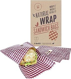 Media Chain Natural Wrap Sandwich Tasche Rot – Wiederverwendbare Bienenwachstücher Tasche Brotbeutel Brottasche Ersetzt Alufolie Und Frischhaltefolie Vegan