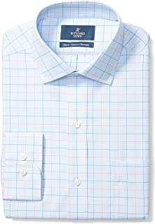 "Buttoned Down Men's Classic Fit Spread-Collar Pattern Non-Iron Dress Shirt, Blue/Orange Tattersall Check, 16"" Neck 34"" Sleeve"