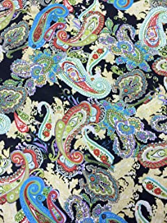 Paisley Floral Colorful Print on Black Satin Fabric 48