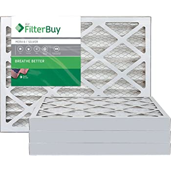 FilterBuy 20x25x2 MERV 8 Pleated AC Furnace Air Filter, (Pack of 4 Filters), 20x25x2 – Silver