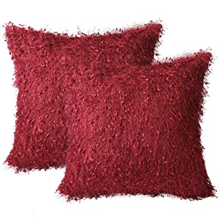 Hodeco Faux Fur Pillow Cover Decorative Luxury Fleece Cushion Cover 100% Polyester Furry Pillowcase Burgundy Hairy Pillow Cover for Couch Soft Dutch Velvet Back 18x18 Inch, Wine Red, Set of 2