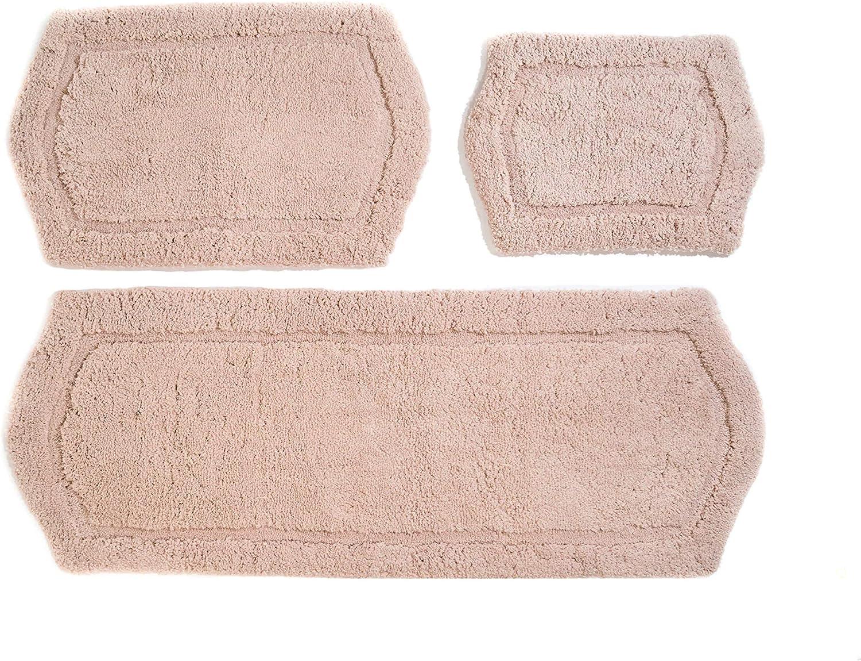 Chesapeake Merchandising Paradise Memory Foam 3 pc Bath Rug Set, 22  x 60 , 21  x 34  & 17  x 24 , Taupe, 3 Piece