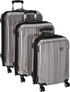 Traveler's Choice Sedona 8-Wheels Polycarbonate Hardside Expandable Spinner 3-Piece Luggage Set, Pewter (21
