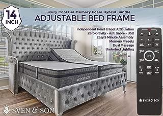 "Sven & Son Split King Adjustable Bed Frame Base + 14"" Luxury Cool Gel Memory Foam Mattress, Head Up Foot Up, USB Ports, Zero Gravity, Interactive Dual Massage, Wireless, Classic (Split King)"