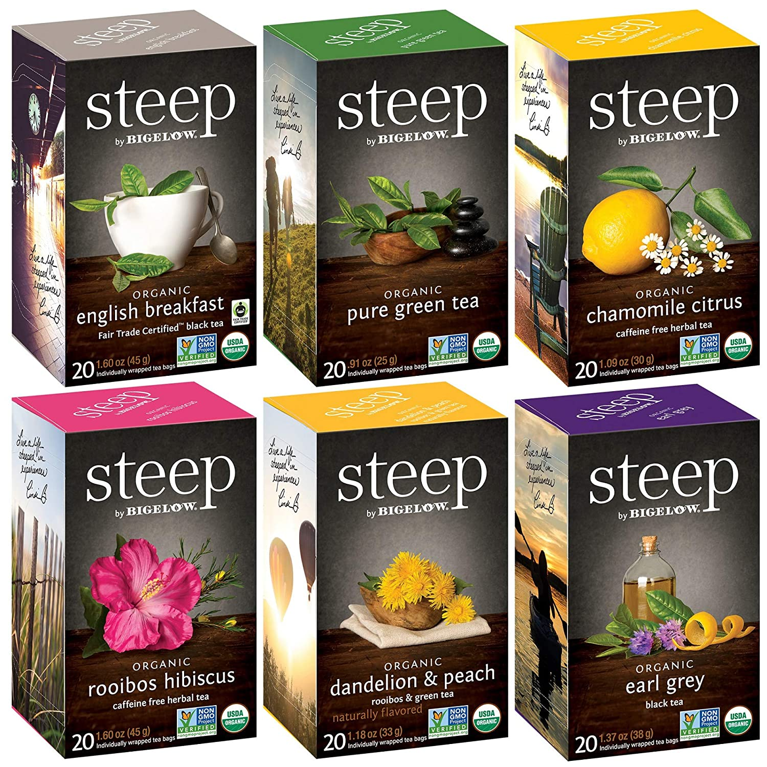 Steep by Bigelow Organic Mixed Caffienated Black New popularity Now on sale Caffeina Green