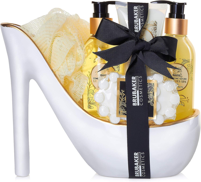 BRUBAKER Cosmetics Luxury Vanilla Spa Beautyset - Set de Baño y Ducha de 6 Piezas - Set de Regalo en Estilete de Cerámica de Oro Blanco