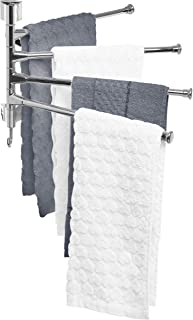MyGift Wall Mounted Stainless Steel Swivel Towel Bar with 4 Swing Arm Hand Towel Drying Rack