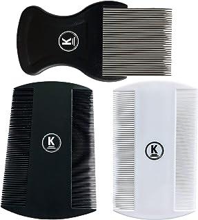 K-Pro Läusekamm Staub- und Flohkamm 3 Set aus Metall und Plastik Nissenkamm fein