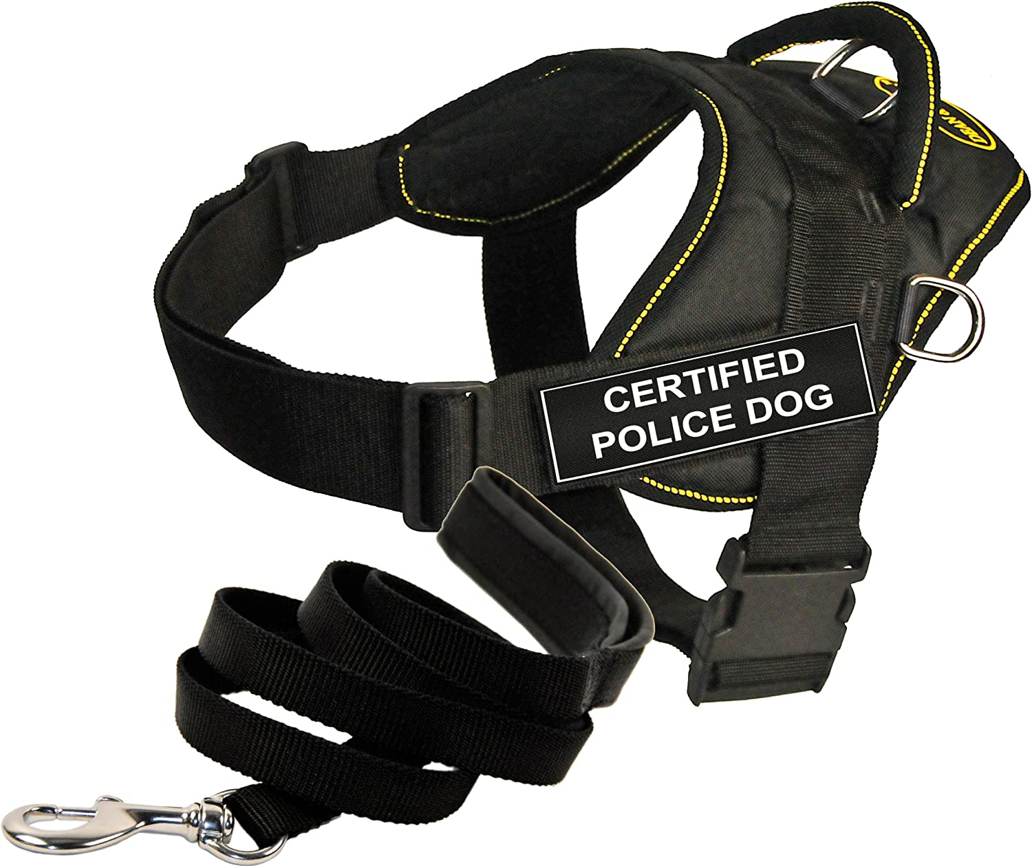 Dean and Tyler Bundle  One DT Fun Works  Harness, Certified Police Dog, Yellow Trim, Large + One Padded Puppy  Leash, 6 FT Stainless Snap  Black