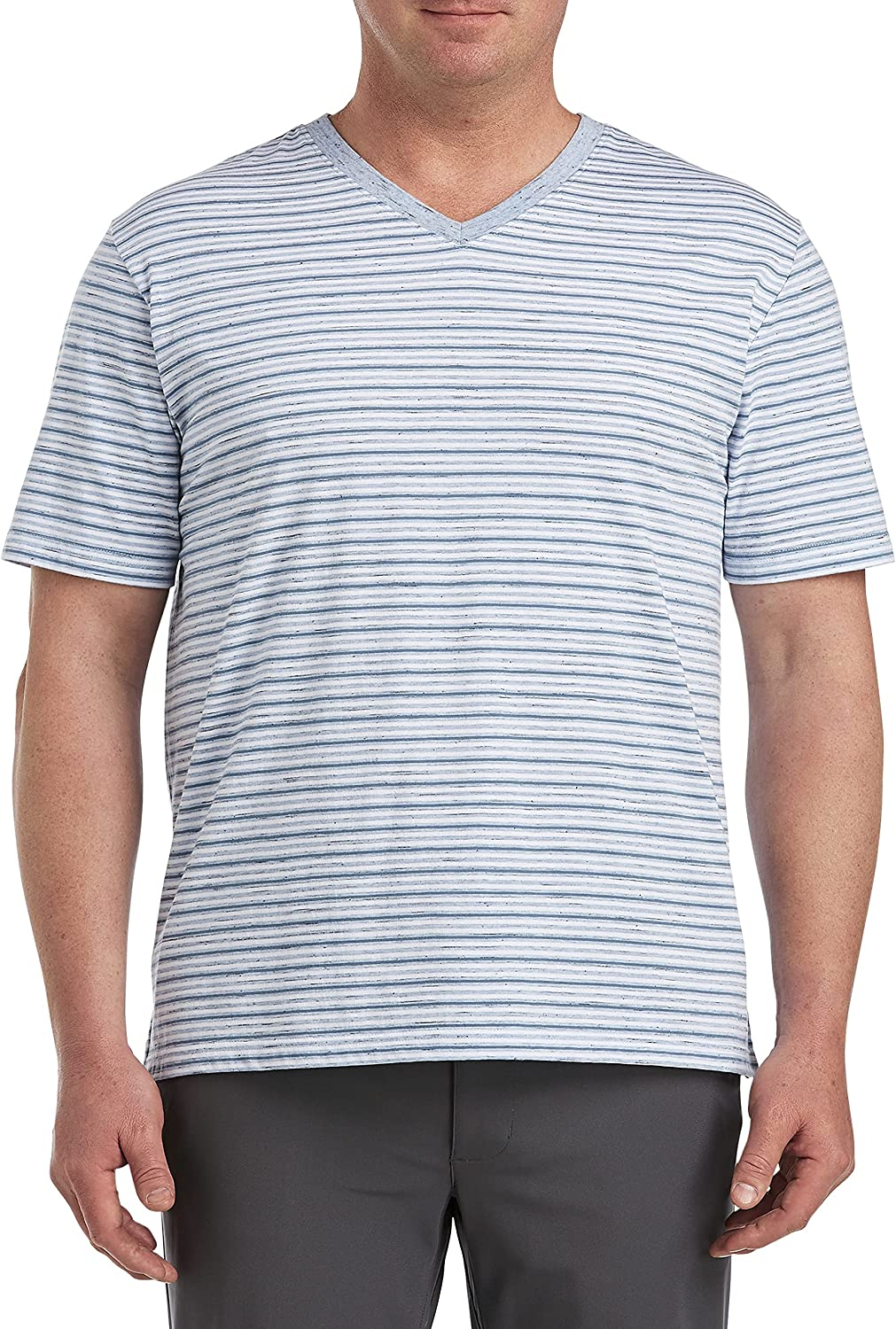 Harbor Bay by DXL Big and Tall Stripe V-Neck Tee, Blue White Multi