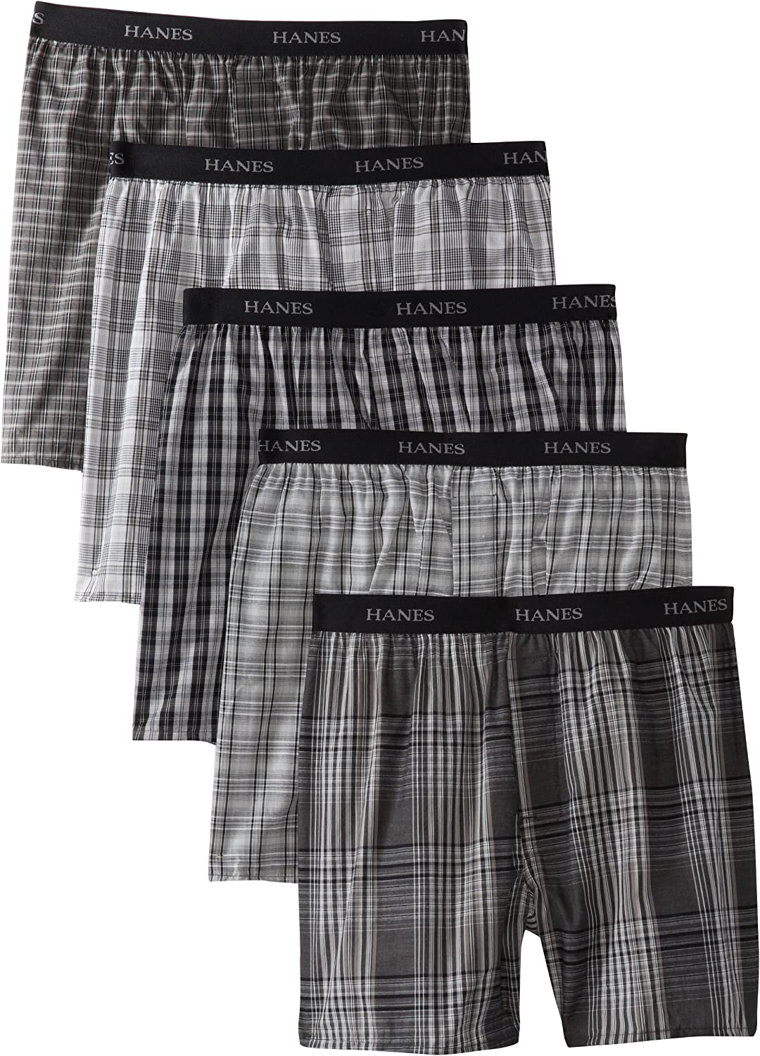 Hanes Ultimate Men's 5-Pack Yarn Dye Exposed Waistband Boxer-(Colors May Vary)