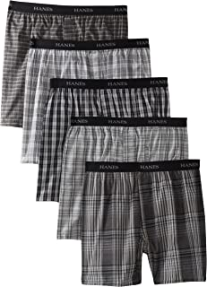 Hanes Ultimate Men's 5-Pack Yarn Dye Exposed Waistband Boxer-Colors May Vary