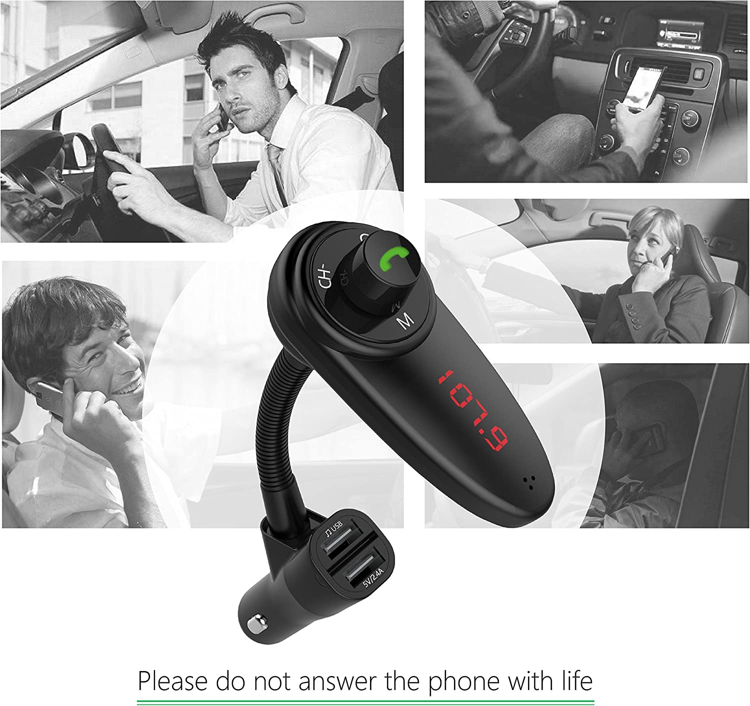 ZCITY Bluetooth Car FM Transmitter with Car Charger Supports USB /& Support TF Card FM30-BK