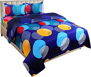 Trendz Home Glace Cotton 144 TC Bedsheet (Double_88x88 Inch_Blue)