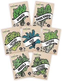 Salad Greens Seeds Kit - 100% Non GMO � Leaf Lettuce, Bibb Lettuce, Romaine Lettuce, Kale, Arugula, Spinach, Swiss Chard. Leafy Greens for Planting in Your Organic Vegetable Garden