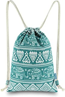 Miomao Drawstring Backpack Elephant String Bag Geometric Gym Sackpack Canvas Sinch Sack Sport Cinch Bag Yoga Daypack Beach Gift Bag For Men & Women 13 X 18 Inches Teal