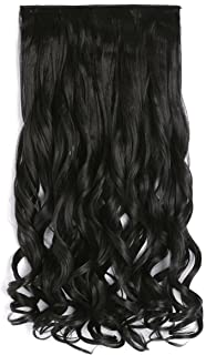 """OneDor 20"""" Curly 3/4 Full Head Synthetic Hair Extensions Clip On/in Hairpieces 5 Clips 140g (2#-darkest Brown)"""
