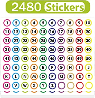 LeeLoon 2480pcs Number Stickers Colorful Round Number Labels,Polka Dot 1-50 and A-Z Adhesive Numbers Stickers for Office,Restaurant,Classroom,School Learning Decorations,1""