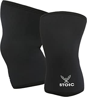 Stoic Knee Sleeves for Powerlifting - 7mm Thick Neoprene Sleeve for Bodybuilding, Weight Lifting Best for Squats, Cross Training, Strongman Professional Quality & Ultra Heavy Duty (Pair)