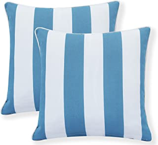 Ornavo Home Water Resistant Indoor/Outdoor Square Patio Decorative Stripe Throw Pillow Cushion - Insert Included - Set of 2-18